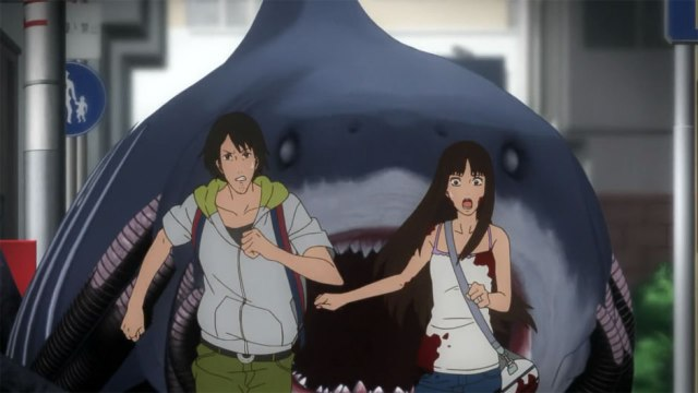 Mobile shark chasing Kaori and other guy