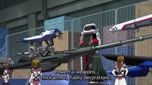 Some Gundam weapons