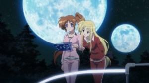 Nanoha and Fate checking out the their teams