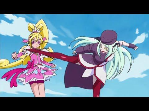 Cure Heart dodging a kick by Marro