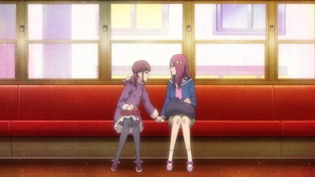 Aya and Yuka on the train