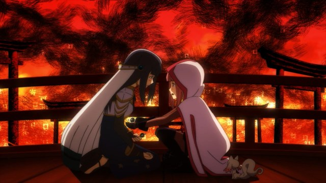 Iroha using her grief seed to absorb Yachiyo's darkness