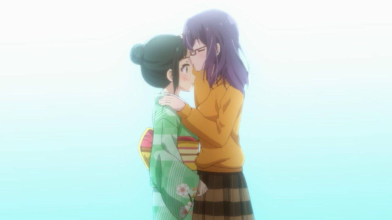 Nagafuji kissing Hino's forehead again