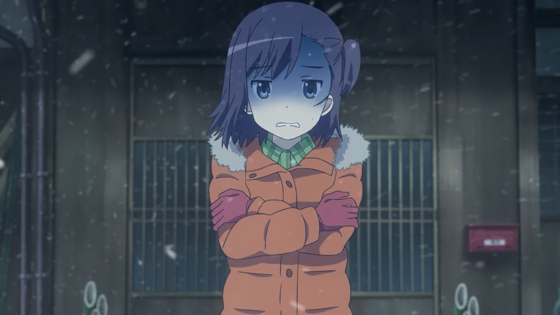 Hikage in a blizzard